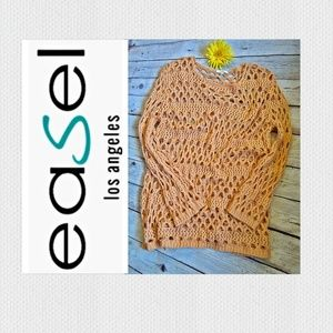 Easel Loose Crochet Tunic Sweater Size M/L